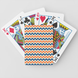 Colorful Blue and Orange Chevron Stripes Zig Zags Bicycle Playing Cards