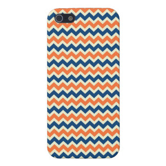 Colorful Blue and Orange Chevron Stripes Zig Zags iPhone 5 Cases
