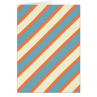 Colorful Blue and Orange Diagonal Stripes Pattern Greeting Card
