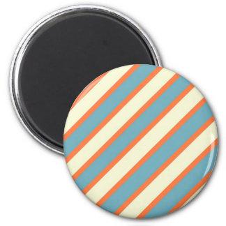 Colorful Blue and Orange Diagonal Stripes Pattern Refrigerator Magnet