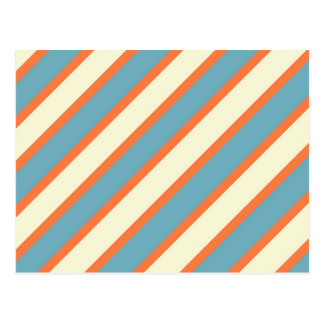 Colorful Blue and Orange Diagonal Stripes Pattern Postcard
