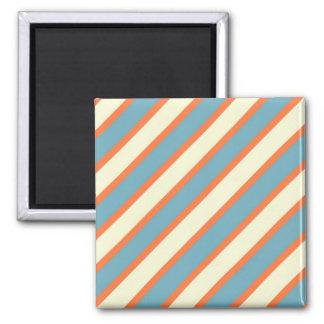Colorful Blue and Orange Diagonal Stripes Pattern Square Magnet