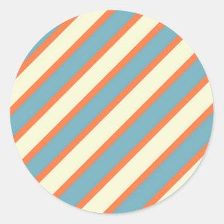 Colorful Blue and Orange Diagonal Stripes Pattern Sticker