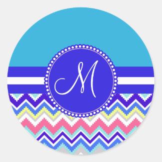 Colorful Blue Aztec Andes Chevron Zig Zags Classic Round Sticker