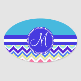 Colorful Blue Aztec Andes Chevron Zig Zags Oval Sticker