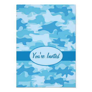 Colorful Blue Camo Camouflage Party Event 5x7 Paper Invitation Card