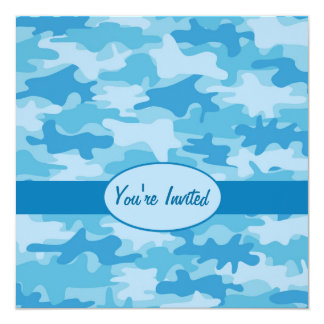 Colorful Blue Camo Camouflage Party Event 5.25x5.25 Square Paper Invitation Card