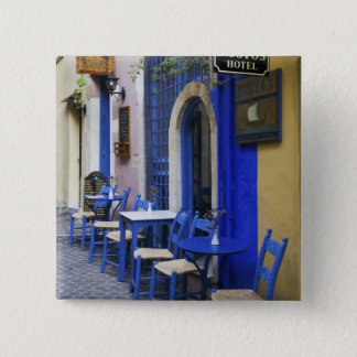 Colorful Blue doorway and siding to old hotel in 15 Cm Square Badge