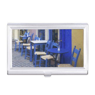 Colorful Blue doorway and siding to old hotel in Business Card Holder