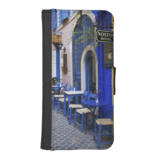 Colorful Blue doorway and siding to old hotel in iPhone SE/5/5s Wallet Case