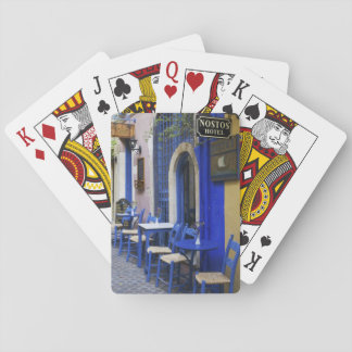 Colorful Blue doorway and siding to old hotel in Playing Cards