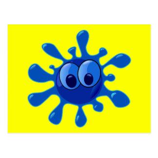 Colorful Blue Funny Splat Pattern Postcard