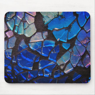 Colorful Blue Glass Mosaic Mouse Mat