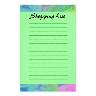 Colorful Blue Green Shopping List Stationery Paper