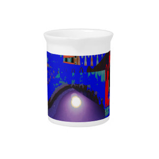 Colorful Blue Purple Moon shine night gifts Beverage Pitcher