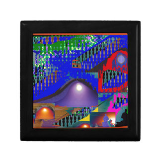 Colorful Blue Purple Moon shine night gifts Small Square Gift Box