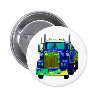 Colorful Blue Semi Truck 6 Cm Round Badge