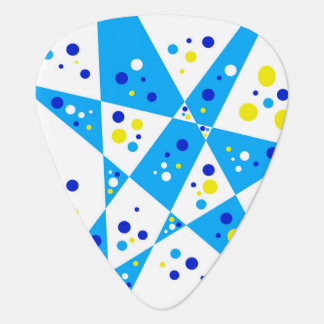 Colorful Blue Yellow and White Party Dots Abstract Guitar Pick