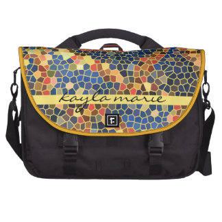 Colorful Blue Yellow Orange Abstract Funky Mosaic Laptop Bags