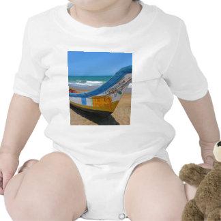 Colorful Boat on Sandy Beach Ocean Scene Creeper