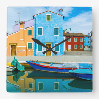 Colorful Boat Scene |Venetian Lagoon Square Wall Clock