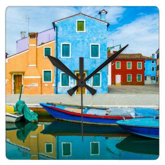 Colorful Boat Scene |Venetian Lagoon Wall Clocks
