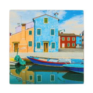 Colorful Boat Scene |Venetian Lagoon Wood Coaster