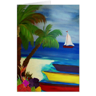 Colorful boats docked at the beach nautical art card