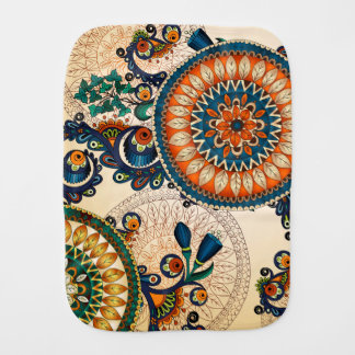 Colorful Bohemian Boho MOD Hippy Chic Pattern Baby Burp Cloths