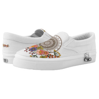 Colorful bohemian floral with dreamcatcher Slip-On shoes