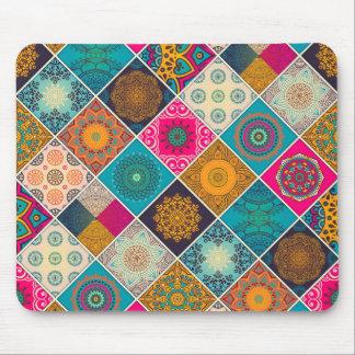 Colorful Bohemian Mandala Patchwork Mouse Mat