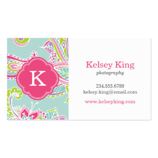Colorful Bohemian Paisley Custom Monogram Double-Sided Standard Business Cards (Pack Of 100)