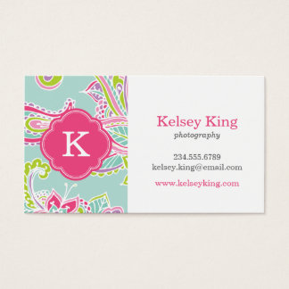 Colorful Bohemian Paisley Custom Monogram Business Card