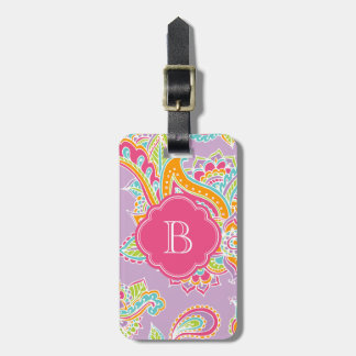 Colorful Bohemian Paisley Henna Custom Monogram Luggage Tag