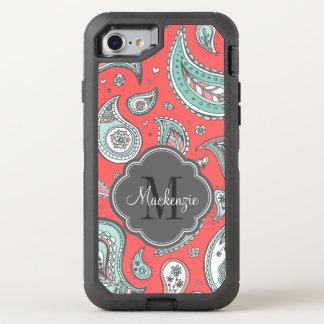 Colorful Bohemian Paisley Monogram OtterBox Defender iPhone 8/7 Case
