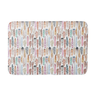 Colorful Bohemian Tribal Watercolor Feathers Bath Mats
