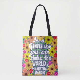Colorful Bohemian Typography Quote Doodle Tote Bag