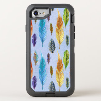 Colorful Boho Feathers Pattern OtterBox Defender iPhone 7 Case