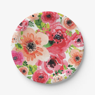 Colorful Boho Floral Watercolor | Paper Plate 7 Inch Paper Plate