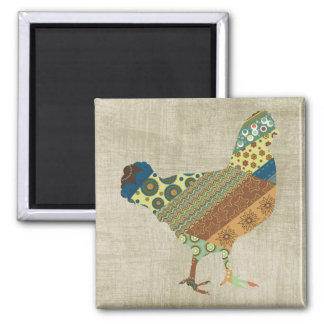 Colorful BoHo Quilt Chicken Design Square Magnet