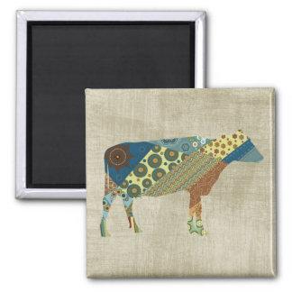 Colorful BoHo Quilt Cow Design Square Magnet