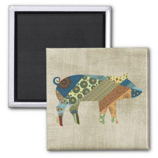 Colorful BoHo Quilt Pig Design Square Magnet