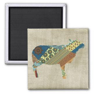 Colorful BoHo Quilt Sheep Design Square Magnet