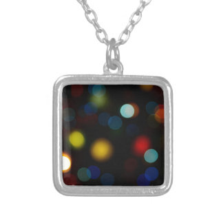 Colorful bokeh lights design silver plated necklace