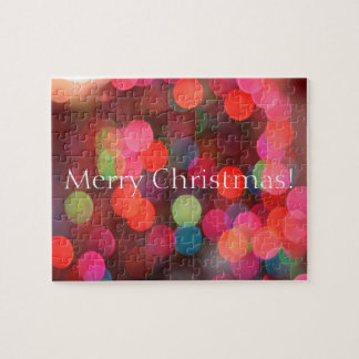 Colorful Bokeh Lights Merry Christmas Greeting Jigsaw Puzzle