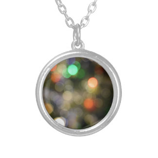 Colorful bokeh lights round pendant necklace