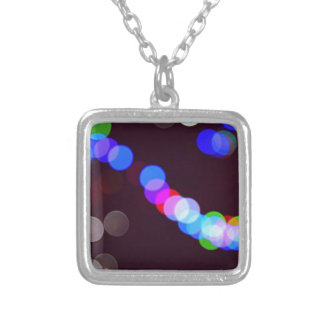 Colorful bokeh lights silver plated necklace