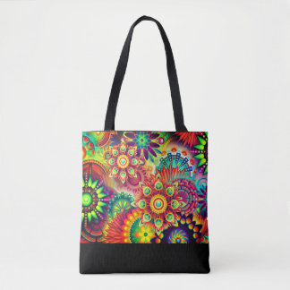 Colorful, bold, abstract flower print tote
