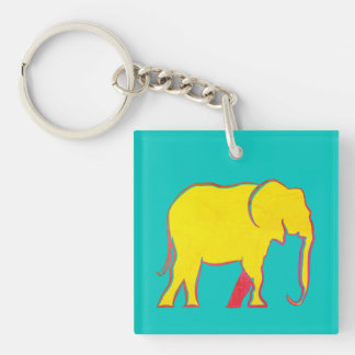 Colorful Bold Elephants Cartoon Yellow Pink Bright Double-Sided Square Acrylic Key Ring