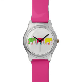 Colorful Bold Elephants Trendy Pink Girly Chic Watch